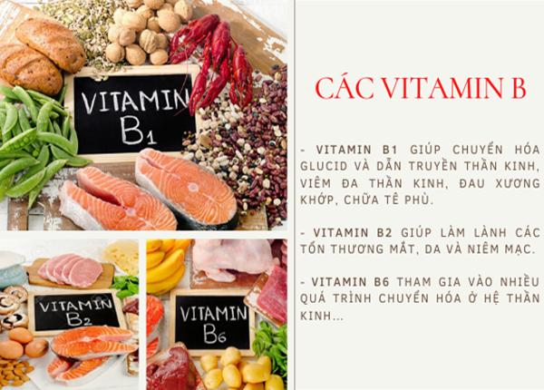 Các nhóm vitamin B cần thiết cho cơ thể phải kể đến vitamin B1, B2, B6,...